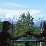 Our party toasted our Alaskan vacation with Denali as a backdrop