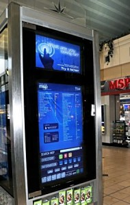 A touch screen directory at each end of The Mall at Minneapolis-St.Paul Airport helps travelers locate food, shops and services