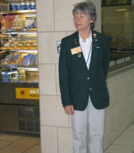 DFW Ambassador Volunteer Nancy Baltimore watches for people who need help or look lost