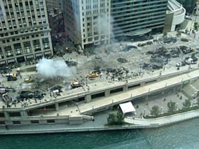 Wacker Drive looked like a battle zone during the filming of Transformers 3. Photo shot for Hotel 71 by Jim Kennedy
