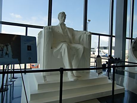 You might find items of interest such as this statue of Lincoln near O'Hare's Terminal 2 or you can wait in comfort in an airline's club lounge