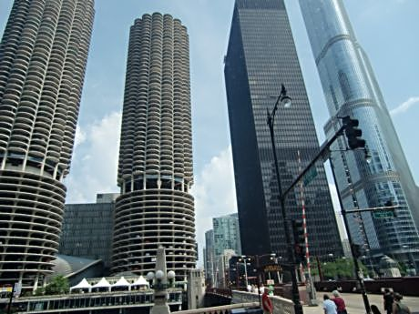 Chicago is also known for its architecture. The Marina Towers on the left and Trump Tower, far right, are on the north side of the Chicago River just west of Michigan Avenue