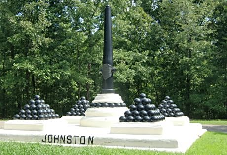 A monument to Army of the Mississippi General Albert Sidney Johnston who was the highest ranked officer on either side killed during the Civil War is at