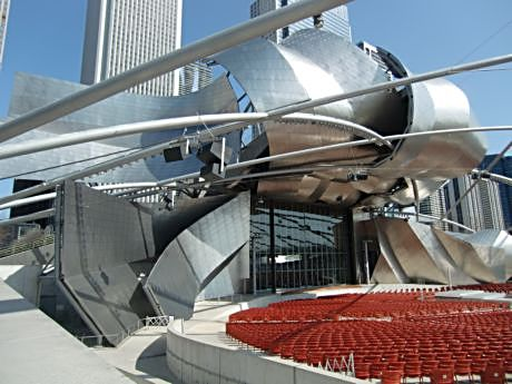 Frank Gehry's metal top to the Pritzker Pavilion is as much sculpture as it is architecture.
