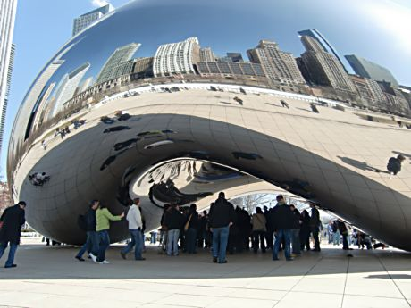 """Coud Gate"" (The Bean) reflects people and skyline in Millennium Park"