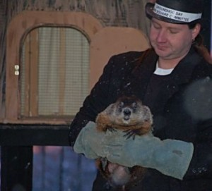 Woodstock Willie predicts the coming weather in Woodstock, Il where the Groundhog Day movie was filmed. Woodstock photo