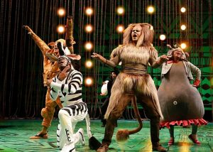 "Madagascar ""animals"" escape from zoo on Chicago Shakespeare's stage. Liz Lauren photo"