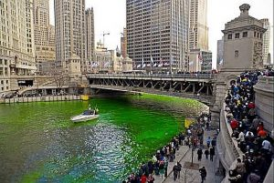 Chicago turns its river green in honor of St. Patrick's Day. Photo complements City of Chicago