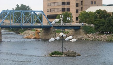 Sometimes ArtPrize works can be seen in the Grand River and on its bridges.