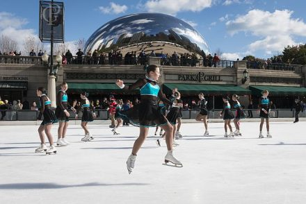 Ice rink in Millennium Park in front of the Park Grill below Cloud Gate (The Bean).( Photo courtesy of City of Chicago)