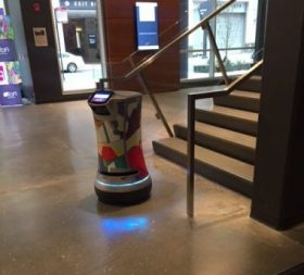 "Meet Corgan, a robot ""bowtler"" at Aloft Chicago Mag Mile. (Photo by J Jacobs)"