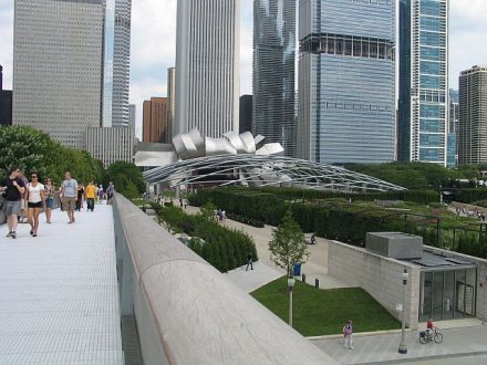 Walking up the bridge from Millennium Park to the Art Institute of chicago's Modern Wing affords a great view of buildings and the park. (J Jacobs photo)