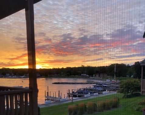 Sunsets over the harbors, bay side, are phenomenal. This is from the Sister Bay Yacht Club where stayed in September. (JJacobs photo)