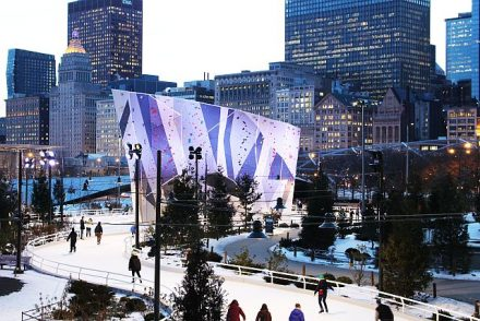 Ice skating the Ribbon in Millennial Park is easy when taking a staycation. (City of Chicago photo)